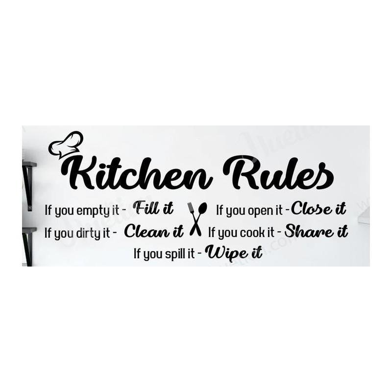 Kitchen Rules Wall Art Stickers Decor Vinyl Decal Word Size S Color Light Grey